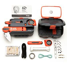 Sol Origin Survival Tool.  Comes with a fishing and sewing set, fully functional blade, a compass, 150lb nylon rope, and fire-starter all in one water-proof case.