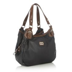 The Collection Black three section shoulder bag- at Debenhams.com