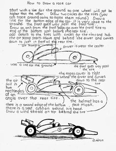 How to Draw Worksheets for The Young Artist: How To Draw A Simple Racecar Free Worksheet