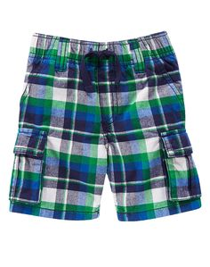 Toddler Boys Clover Green Plaid Plaid Cargo Shorts by Gymboree