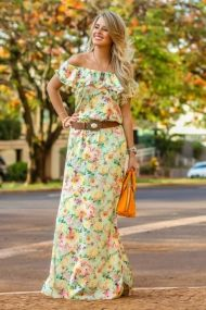 Marina Casemiro, look do dia, vestido, longo, fenda na perna, cinto marrom…
