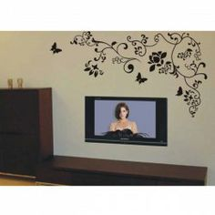 $6.30 Small Size PVC Lovely Flower Pattern Wall Decal Home Decor TV Background Sticker (Black)
