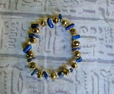 Lapis and gold crystal bracelet Egyptian by EgyptianInspirations, $23.99