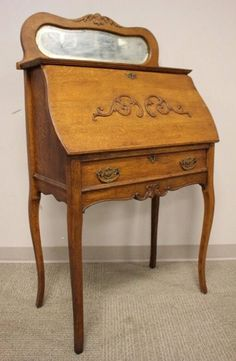 Jc Antique Ladies Drop Down Secretary Writing Desk Oak