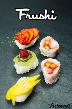 """Beautifully sliced fruit as...Sushi? Yep, it's called """"Frushi"""" and makes for a surprising and delightful spread."""
