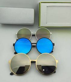 2016 newest korea brand designer sunglasses high quality oculos de sol round frame glass solar reflective lens free original box #DIY #Sale #Hot #Summer #Cool #2016 #Vintage #Luxury
