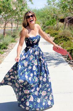 b9b4b35594 Lulus   Only in Dreams Navy Blue Floral Print Maxi Dress   Size X ...