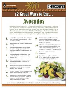 """Avocados rank as one of the """"super foods"""" of the Mediterranean Diet - want some additional ideas on how to enjoy avocados?  Check out 12 great ways to use avocados from Oldways."""