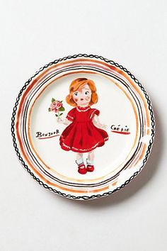 Nathalie Lete plate from Anthropologie - Francophile Dinner Plate, Babydoll, Bonjour Cherie Ceramic Plates, Decorative Plates, Ceramic Art, Anthropologie Home, Nature Prints, Plates On Wall, Plate Wall, Dinner Plates, Stoneware