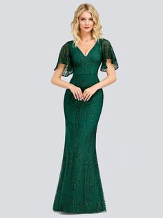 Ever Pretty Women Elegant Popular V-neck Plus Size Sequined Ruffle Sleeves Ball Gowns Evening Prom Party Dresses Mermaid Bridesmaid Dresses, Prom Party Dresses, Party Gowns, Wedding Gowns, Lace Wedding, Mermaid Evening Gown, Ball Gowns Evening, Evening Party, Affordable Prom Dresses