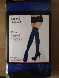 9a4cbc26183 Wide Striped Thingh Hi Black   Blue  fashion  clothing  shoes  accessories