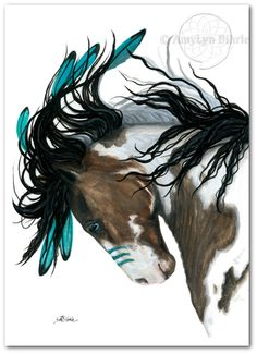 Majestic Pinto Turquoise War Paint Native American by AmyLynBihrle