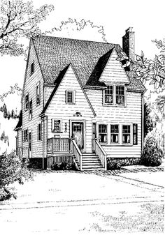 Pen and ink architectural illustration. Artwork by Mary Palmer; all rights reserved.