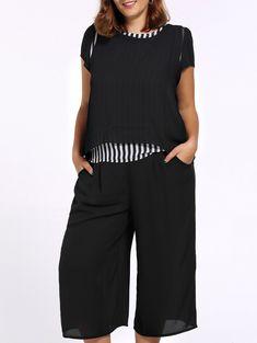 c38b47c363 Chic Plus Size Striped Asymmetrical T-Shirt + Wide Leg Capri Pants Twinset  For Women. Margarita Dopwell · bell bottom pants