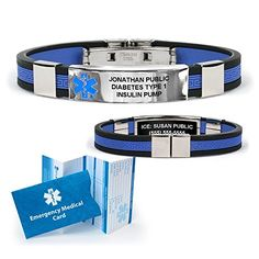 Silicone Designer Medical ID Bracelet (incl. 6 lines of custom engraving). Choose Your Color! (Black / Blue (small inset)) * More info could be found at the image url.