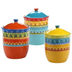 Inspired by the bold colors of Spain, Certified International& Valencia Canister Set blends hand painted artistry with everyday dining. Crafted of ceramic, these bold and colorful pieces flaunt a charming design that enlivens your tablescape. Ceramic Canister Set, Kitchen Canister Sets, Glass Canisters, Ceramic Tableware, Kitchen Caddy, Coffee Canister, Ceramic Bowls, Kitchen Storage, Food Storage Containers
