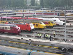 Een line-up van 5 trein soorten