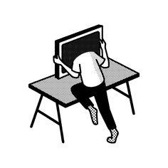 computer head / illsutration Michal Loba