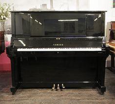 A 1994, Yamaha WX7S upright piano with a black case and polyester finish at Besbrode Pianos £5995. Piano has an eighty-eight note keyboard and three pedals.