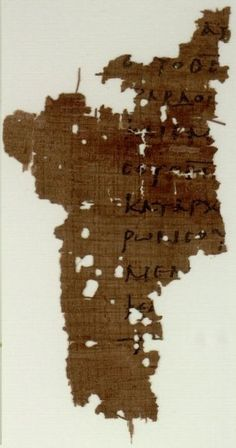 Papyrus manuscript fragment of the Letter to the Hebrews from an early New Testament in Greek. The surviving text of Hebrews are verses 1:7-12. Found in Egypt, dates from around 250 AD and is currently at the Sackler Library at Oxford England.