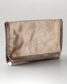 03122a104afa Stella McCartney  Metallic Faux Leather Falabella Fold-Over Clutch Bag - Neiman  Marcus