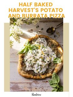 Pizza and potatoes: two things we love on their own, but together? Let's not get carried away…or maybe we should, because Tieghan Gerard's potato and burrata pizza (from her new cookbook, Half Baked Harvest Super Simple) is nothing short of incredible. Vegan Dinner Recipes, Vegan Dinners, Dairy Free Recipes, Low Carb Recipes, Burrata Pizza, Pesto Pizza, Buffalo Cauliflower, Thing 1, Gastronomia