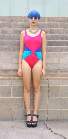 Jessie's Girl Bathing Suit // 80s Swim// One Piece // Bright // Pink // Blue // Bow // Size 12 // Small // Medium // Fun // Women // Vintage