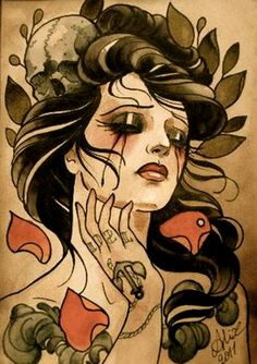 Done by Alix Ge. @Alix Ge my next thigh tatt.. she will tie in my sara fabel skull and my florence lyrics