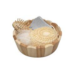 COD.BE001 Canasto SPA de belleza en madera. Contiene cepillo de pelo, esponja malla, piedra pomez y esponja de masaje corporal.