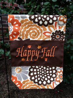 Happy Fall Garden Yard Flag Orange Brown and Grey Custom Personalized on Etsy, $39.95