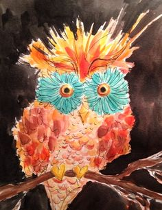 October 5.  Hootie. Watercolor and pen on paper.