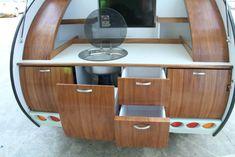 Gidget teardrop camper takes sliding approach to extra space Gidget Retro Teardrop Camper, Teardrop Camper Interior, Teardrop Caravan, Airstream Interior, Teardrop Campers, Pod Camper, Small Camper Trailers, Tiny Camper, Small Campers