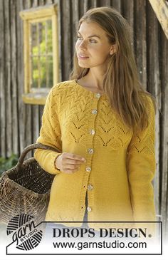 Ravelry: Golden Fairy Cardigan pattern by DROPS design Drops Design, Baby Knitting Patterns, Scarf Patterns, Crochet Patterns, Crochet Woman, Easy Knitting, Finger Knitting, Knitting Tutorials, Cardigan Pattern