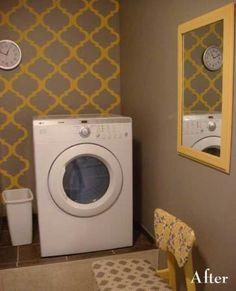 Elaborate stencil behind my laundry that matches kitchen :)