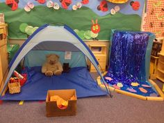 Camping would be a fun dramatic paly area! The children would love playing in the tent! Could also add in a pretend fire and marshmallows! Camping Dramatic Play, Dramatic Play Themes, Dramatic Play Area, Dramatic Play Centers, Preschool Dramatic Play, Preschool Centers, Preschool Classroom, Classroom Themes, In Kindergarten