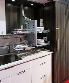 Upper pull down rack for Kitchens from Richelieu Back Splash | Design Ideas by Terry Babij