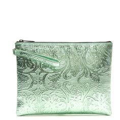 Reece Hudson Bowery Brocade Pouchette ($325) ❤ liked on Polyvore featuring bags, handbags, clutches, purses, taschen, green clutches, brocade purse, metallic purse, handbags purses and brocade handbags