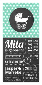 Geboortekaartje wandelwagen sterren krijtbord | birth announcement chalkboard | typografie en letterpress stijl. www.meisenmanneke.nl