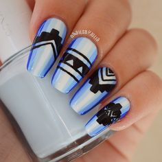 Instagram media by naailsbyjulia - Blue azzzztec, inspired by @heynicenails ☺️ I used @essiepolish - butler please, bikini so teeny, find me an oasis and black acrylic paint, all topped with @sechenails top coat. ✨ Like it?  #nails#by#me#nailart#blue#aztec#cute#cool#love#print#design#beauty#fashion#style#stylish#girl#girly#manicure#nailpolish#essie#essielook#instanail#nailswag#instagood#nails2inspire#nailpromote @nails2inspire @nailpromote