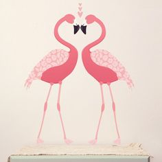 Wall Decal Pink Flamingo (Reusable and removable fabric wall decals, not vinyl) - Pink Flamingos Wall Stickers, Wall Decals, Wall Art, Pretty Birds, Pretty In Pink, Flamingo Fabric, Deco Originale, Love Wall, Project Nursery