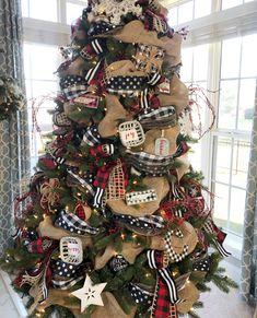 Buffalo Check Christmas Tree with ribbon- 2018