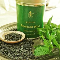Need a mid-week pick-me-up? Brew yourself some #EmeraldMint #tea and enjoy the uplifting blend of #spearmint and Chinese #gunpowder #greentea . #mint #gold #emerald #greenery
