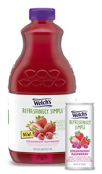 Delicious, fresh fruit flavors meet a light crisp juice with Welch's Refreshingly Simple. Welch Juice, Raspberry, Strawberry, Star Wars Birthday, Grape Juice, Healthy Snacks, Healthy Eating, Hot Sauce Bottles, Fresh Fruit