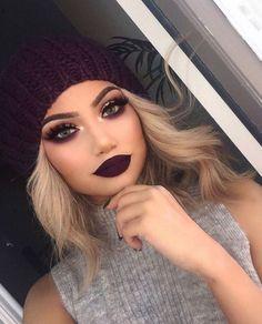 dark makeup looks 10 Dark Lipstick Colors To Try This Winter (dark lipstick colors) Glam Makeup, Beauty Makeup, Hair Beauty, Purple Makeup, Makeup Cosmetics, Pupa Cosmetics, Burgundy Makeup Look, Makeup Shayla, Nude Makeup