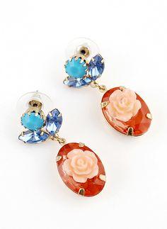 Pendientes flor piedras Azul y rojo EUR€5.01