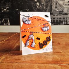 """Batty Boo Card. Cardstock: Folia; stamps: Paper Smooches (""""Falling for You""""); ink: Distress Ink, Ranger; coloration: Bellcolor; bat sequins: TEDI; Thickers; Glossy Accents; twine from my stash."""