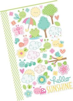 """Custom & Decorative {0.25"""" to 6"""" Inch} 90 Piece Pack of Mid-Size Stickers for Arts, Crafts & Scrapbooking w/ Cute Colorful Cartoon Kawaii Spring Time Bugs, Birds Flowers Frogs Style {Multicolored}"""