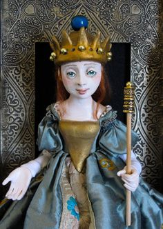 Medieval Princesssculpture/doll seated in frame by Friedericy Dolls