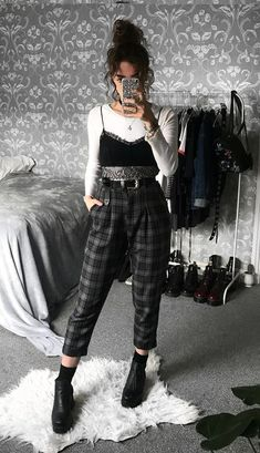 Long sleeve white top with black bralette, plaid pants & boots by sophie. - Long sleeve white top with black bralette, plaid pants & boots by sophie.seddon & Clothes 29 Cool Ways to Wear Plaid Pants Retro Outfits, Boho Outfits, Cute Casual Outfits, Outfits For Teens, Fall Outfits, Vintage Outfits, Fashion Outfits, Dress Fashion, Cochella Outfits