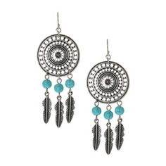 Burnished Silver Disc and Charm Drop Earrings - 4.99 euros